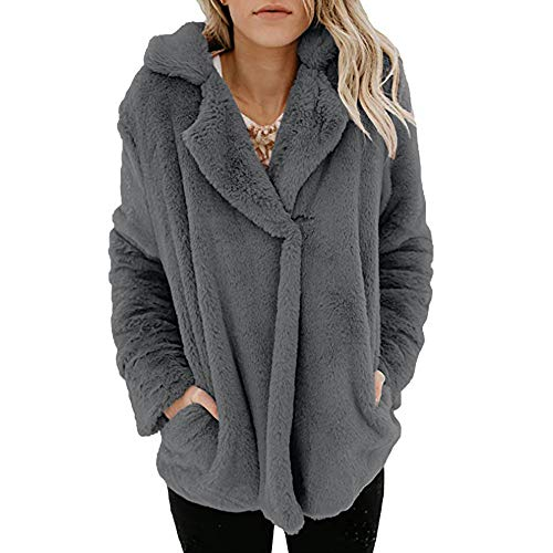 Damen Strickjacke Plüschjacke Langarmshirt Oversize Sweatjacke Herbst Winter Casual Open Front Sweater Cardigan Cover Up Einfarbig Outwear -