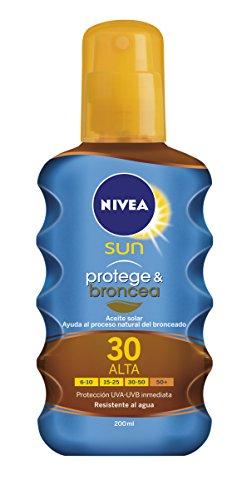 Nivea Sun Protege & Broncea Aceite Solar en Spray, Protección Alta, FP 30 - 200 ml