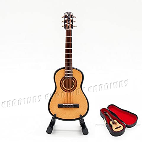 Odoria 1:12 Miniature Wooden Acoustic Guitar with Stand and Case Music Instrument Dollhouse Accessories