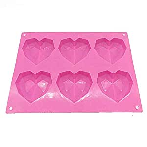 Royale Mesum 6-Cavity Pinata Diamond Heart Cake Mould, Soap Mould Flexible Mould Silicone Mould for ice Lattice Tray Chocolate Mould Candle Mould