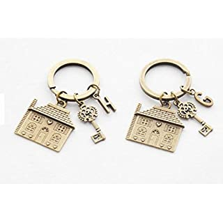2 Keychains Housewarming Gift Set of 2 New House Keychains First House Keyring Personalized Home Key Chain Personalized Monogram Keychain