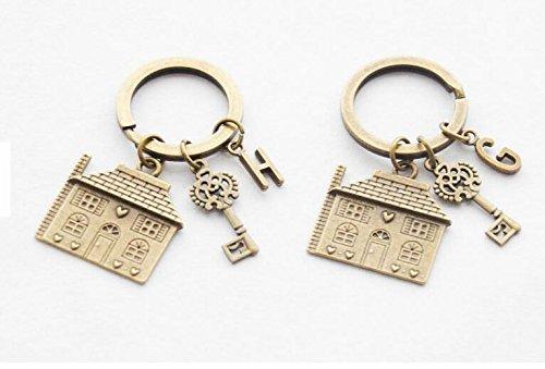Für Paare Cute Halloween (2schlüsselanhänger Einzugs Geschenk-Set von 2neue House Schlüsselanhänger Erste Haus Schlüsselanhänger Personalisierte Home Schlüsselanhänger Persönlichen Monogramm)