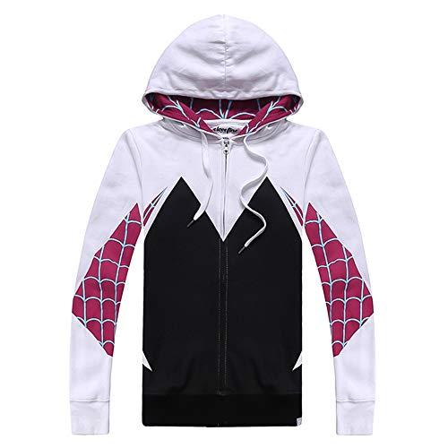WANLN 3D gedruckte Spinne Gwen Stacy Spider Hoodies Unisex Streetwear Männer Casual Zip Up Sweatshirt mit Kapuze Halloween Kostüm Mantel,Weiß,M (Spider Mann Kapuzen Kostüm)