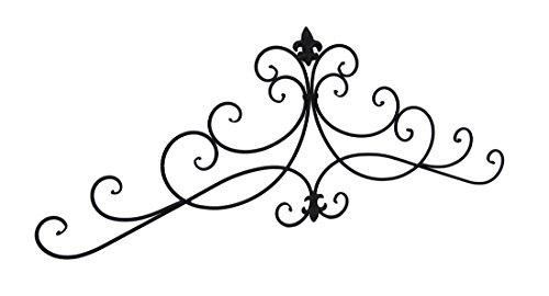 Fleur de lis Scrolls espresso Finish metal Wall Hanging