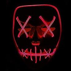 Queta Halloween Maske LED Light EL Wire Cosplay Maske Purge Mask für Festival Cosplay Halloween Kostüm (Rot)