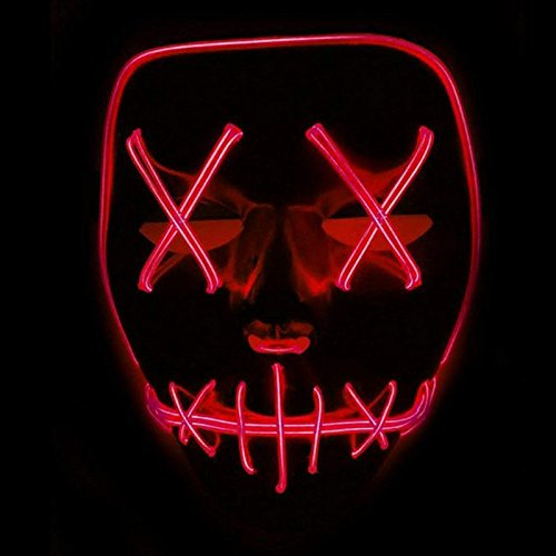 Queta Halloween Maske LED Light EL Wire Cosplay Maske Purge Mask für Festival Cosplay Halloween Kostüm (Rot)