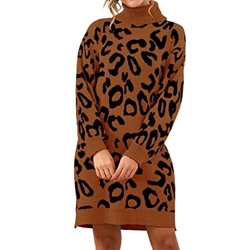 Poachers Abrigos Mujer Invierno Elegantes Sudaderas Mujer Jersey Mujer Manga Larga Encaje Jersey Lana Mujer Cuello Vuelto Vestido de suéter de Leopardo con Cuello Alto y Cuello Alto Sexy