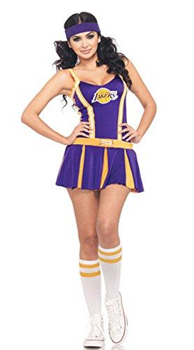 Babyicon Damen Lakers Cheerleader Kostüme Fußball Uniform Verrücktes Kleid (Blau)
