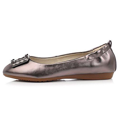 VogueZone009 Damen Rein PU Leder Ohne Absatz Rund Zehe Ziehen auf Flache Schuhe, Blau, 37
