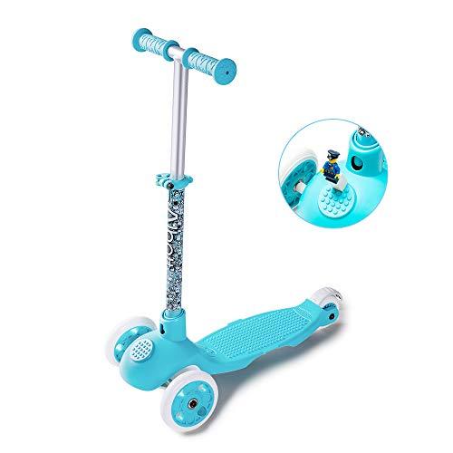 Albott Kinderroller Mini-Scooter Einstellbare Tretroller Bausteine Dreirad