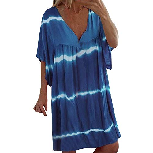 18th Century Shirts (Sommer Frauen Plus Size V-Ausschnitt beiläufige lose Pullover Tie Dye Print Mini Kleider Kurzarm Swing T Shirt Kleid)