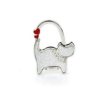 ALLtree Ladie's Folding Bag Handbag Table Hook Hanger Holder Heart Cat(Sliver)