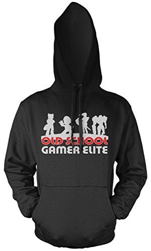 Old School Gamer Elite Männer und Herren Kapuzenpullover | Super Kult Mario Nintendo (L)
