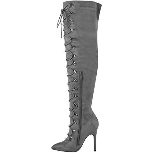 Femmes Bas Au Dessus Du Genou Talon Aiguille Bottes Chaussures À Lacets Taille Daim synthétique gris