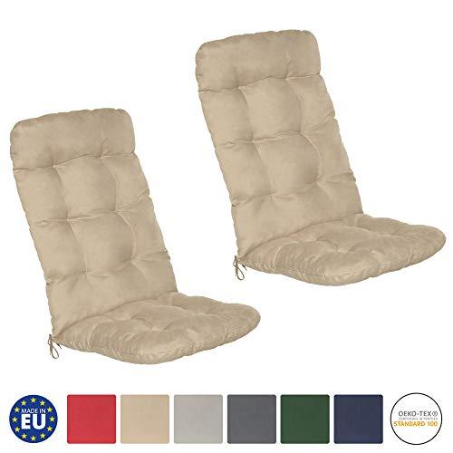 Beautissu Flair HL - Set de 2 Cojines para sillas de balcón o Asientos Exteriores con Respaldo Alto...