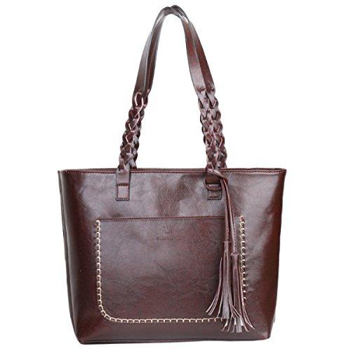 Frauen Handtaschen Mode Quasten Retro-Tasche Schultertasche Darkbrown