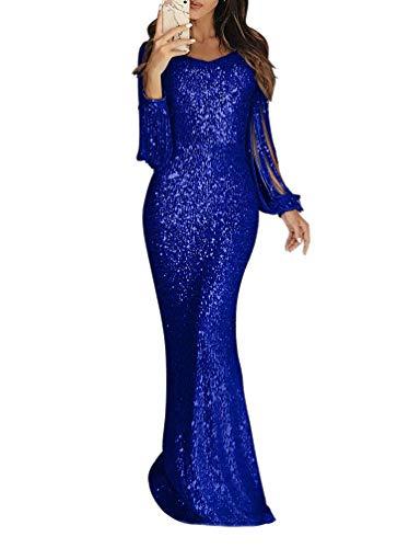 Minetom Damen Festlich Hochzeit Kleider Glänzend Pailletten Elegant Lang Abendkleid Langarm Quaste Cocktailkleid Maxikleid Partykleid A Blau DE 44