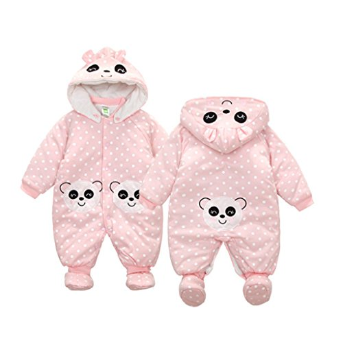 GudeHome Baby Clothes Boys Girls Hooded Romper Cotton Thickenen Jumpsuit Outwear Cute Outfits, Panda 3-6 Months