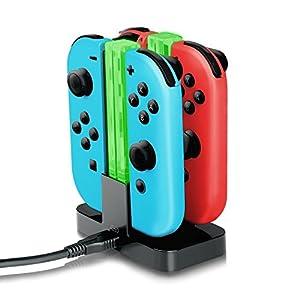 IVSO Nintendo Switch Joy-Con Ladegerät Dockingstation Compact Joy-Con Ladegerät mit TYPE-C Ladeanschluss + Elektrisches Licht für Nintendo Switch