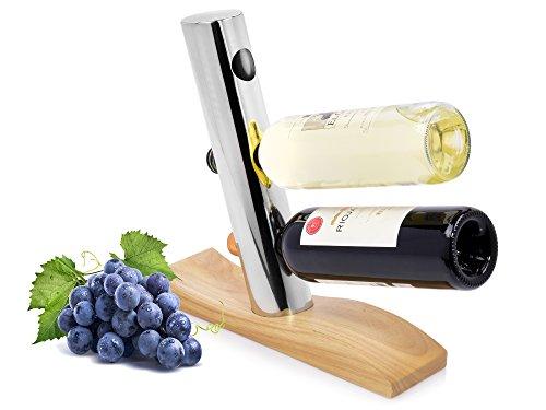 Bluespoon Weinregal 'Vin' aus Holz und Aluminium | Maße 32x9x31,5 cm | Ideale Anordnung und Aufbewahrung von bis zu 3 Weinflaschen -