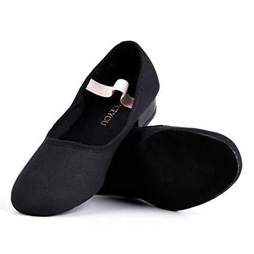 DANCEYOU Tanzschuhe Canvas Charakter Schuhe mit niedrigem Absatz für Mädchen und Frauen Schwarz 28-38