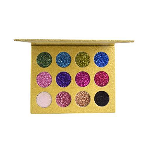wyxhkj Ombre à paupières Paillettes 12 couleurs brillante ombre à paupières palette de poudre miroitante couleurs éclatantes cosmétique (Or)