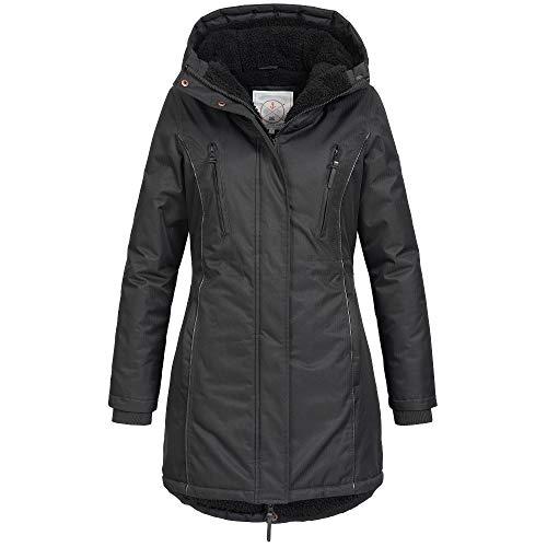 Azuonda Damen Winter Jacke Mantel Winterjacke Parka warm gefüttert Kapuze Az101 XS-XXL 2-Farben, Größe:XL, Farbe:Schwarz