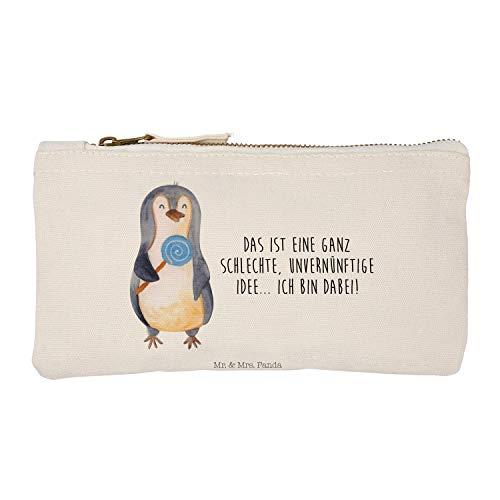 Mr. & Mrs. Panda S Schminktasche Pinguin Lolli - Pinguin, Pinguine, Lolli, Süßigkeiten, Blödsinn, Spruch, Rebell, Gauner, Ganove, Rabauke Schminktasche klein, Damen, Kosmetiktasche, Kosmetikbeutel, Stiftemäppchen, Etui, Federmappe, Makeup