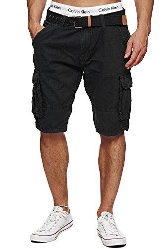 INDICODE Herren Monroe Cargo ZA Cargo Shorts Bermuda kurze Hose mit Gürtel Black L