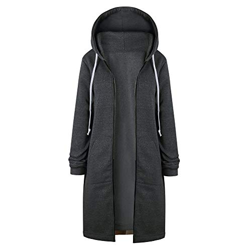 BaZhaHei Damen Mantel Frauen Warm Zipper Open Hoodies Sweatshirt Lange Mantel Jacke Tops Outwear Reißverschluss Mit Kapuze Mantel