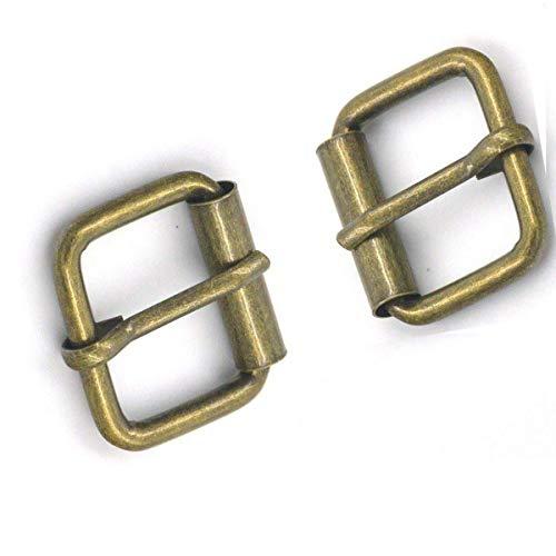 Trimming Shop 15mm quadratische Metallschnallen aus Bronze für Schuhe, Stiefel, Taschen & Accessoires, Lederhandwerk, Gurtband - strapazierfähig, leicht, 10 Stück -
