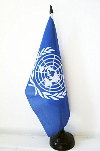 TISCHFLAGGE VEREINTE NATIONEN UNO 21x14cm - UNITED NATIONS TISCHFAHNE 14 x 21 cm - flaggen AZ FLAG - United Nations-flag