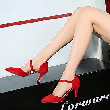 LFNLYX Donna Sandali Primavera Estate Autunno altri Fleece Party & abito da sera Casual Stiletto Heel altri nero rosa rosso grigio altri Red