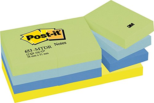 Post-it 653MTDR Haftnotiz Rainbow Notes, 51 x 38 mm, 4 Farben Dreamy Collection, 100 Blatt, 12 Block - in weiteren Größen verfügbar