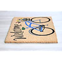 Al Salem Carpet Carpet Indain Natural Coco Doormat Carpet Printed Coir Base Rubber Sterlize Mat 045 CM X 075 CM STANDARD