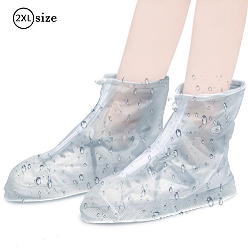ATPWONZ 1 Par Gruesa de PVC Antideslizante Cubierta de Zapatos Cubiertas de lluvia Impermeable de Transparente 43-44 (2XL)