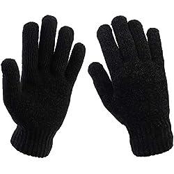 Hombres Guantes de invierno forrados de punto con forro térmico Forro de vellón completo Mantener cálidos y suaves guantes de trabajo para deportes al aire libre (Negro)
