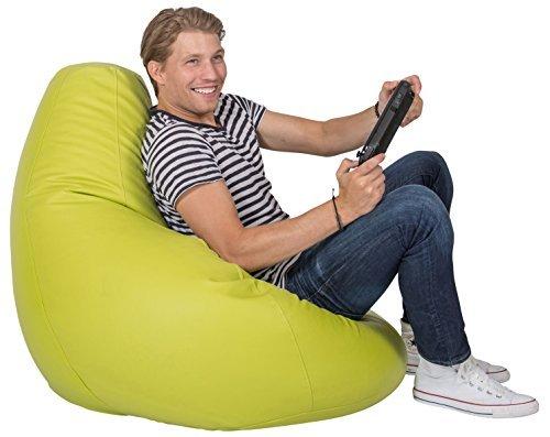 Lumaland Luxury stylischer Gaming Beanbag Lederimitat Sitzsack 230L Füllung Indoor Outdoor...