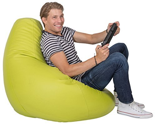 Lumaland Luxury stylischer Gaming Beanbag Lederimitat Sitzsack 230L Füllung Indoor Outdoor verschiedene Farben Grün