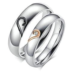 Idea Regalo - Bishilin Acciaio Inossidabile Puzzle Cuore Coppia Anello Fedine Anelli Promessa Matrimonio(Prezzo per 1pc) Misura 20