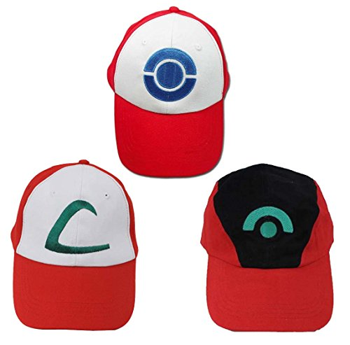 Pokemon Ash Hut Ketchum Spiel Cosplay Costume Pokemon 3 Pack Hats (Kostüm Hut Pokemon Ash)