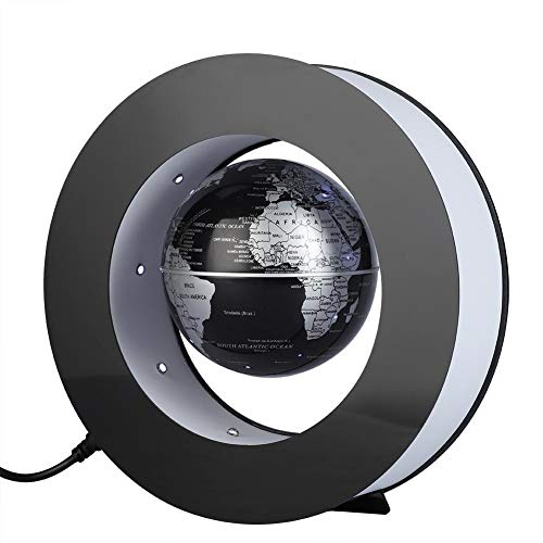 yuyte Globo Flotante Magnético, Mapa Giratorio de Levitación, Geografía Educativa del Globo Terráqueo con luz LED para enseñanza y decoración y Oficina en casa(Argento E Nero)