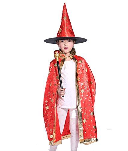 Snsunny Kinder Jungen Mädchen Halloween Kostüm Zauberer Hexe Umhang Mütze für Bühnen Halloween Party(one size, ()