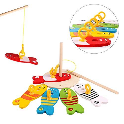Gioco di pesca in legno, educativo pesci giocattolo per bambini, intellettuale pesci gioco giocattoli, giocattolo da bagno per bambino galleggiante, regalo divertente per compleanno, età 2 3 4 5
