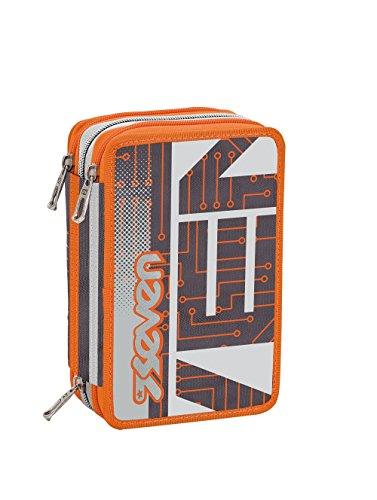 Estuche escolar 3 compartimentos SEVEN – CIRCUIT – 3 pisos – gris naranja – con lápiz, marcadores, boligrafos.. nuevo!