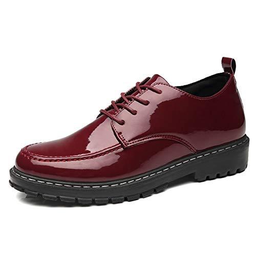 Mode Schuhe, Freizeitschuhe Herren-Oxford-Schuhe im britischen Stil für Herren Schnürschuhe aus PU-Leder, Lackleder, Formelle Schuhe, Außensohle, runde Kappe, Freizeit-Business, flexible Halbschuhe Pe - Pe-uniformen