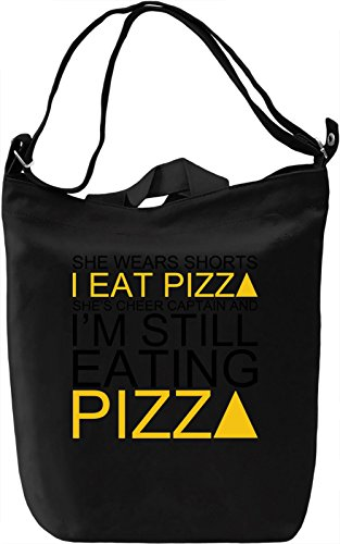 She Wears Shorts I Eat Pizza She's Cheer Captain Slogan Leinwand Tagestasche Canvas Day Bag| 100% Premium Cotton Canvas| DTG Printing| (Retro Cheer Shorts)
