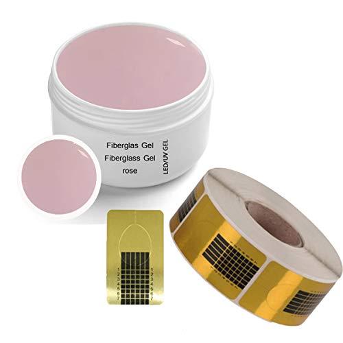 1x LED-UV Fiberglas Gel ROSE klar 30 ml incl. 1x Modellierschablonen (500 St.)