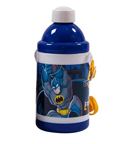 Kunststoff Wasser Flasche mit Trinkhalm, Trageriemen Griff für Kinder Sport, Schule und Reisen, One Pack Batman ()