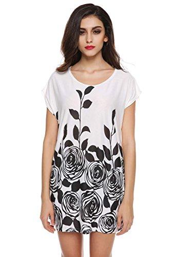 ZEARO T-shirt Damen lang Sommerkleid Blumendruck Kleid Partei Freizeitkleider Strandkleid Weiß